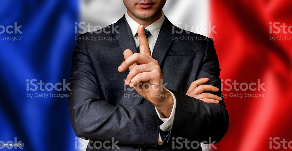French candidate speaks to the people crowd stock photo