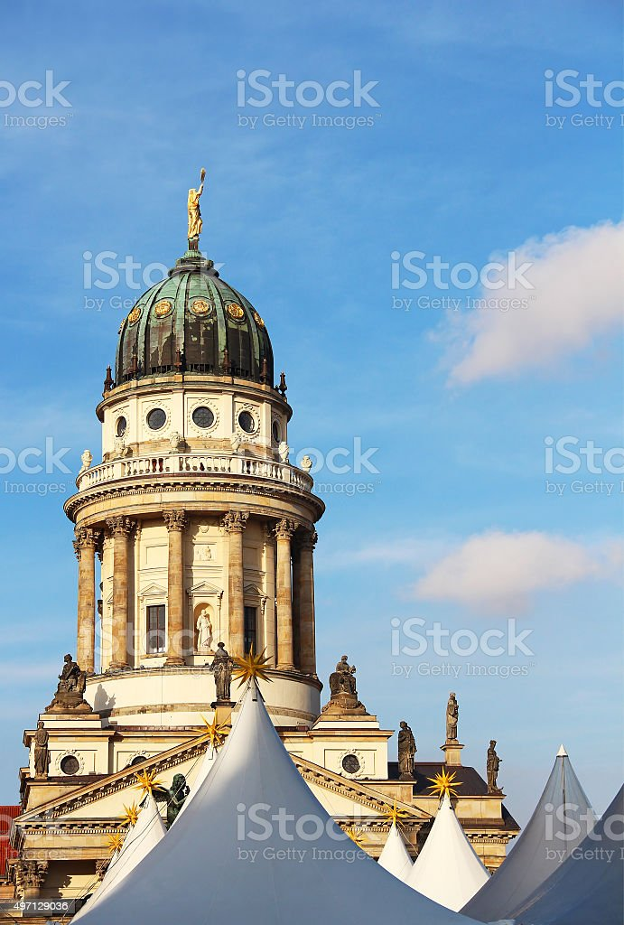 French Cathedral and Christmas market in Berlin stock photo