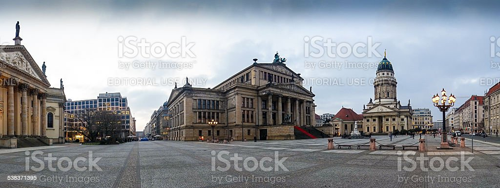 French Cathedral and Concert Hall on Gendarmenmarkt Square stock photo