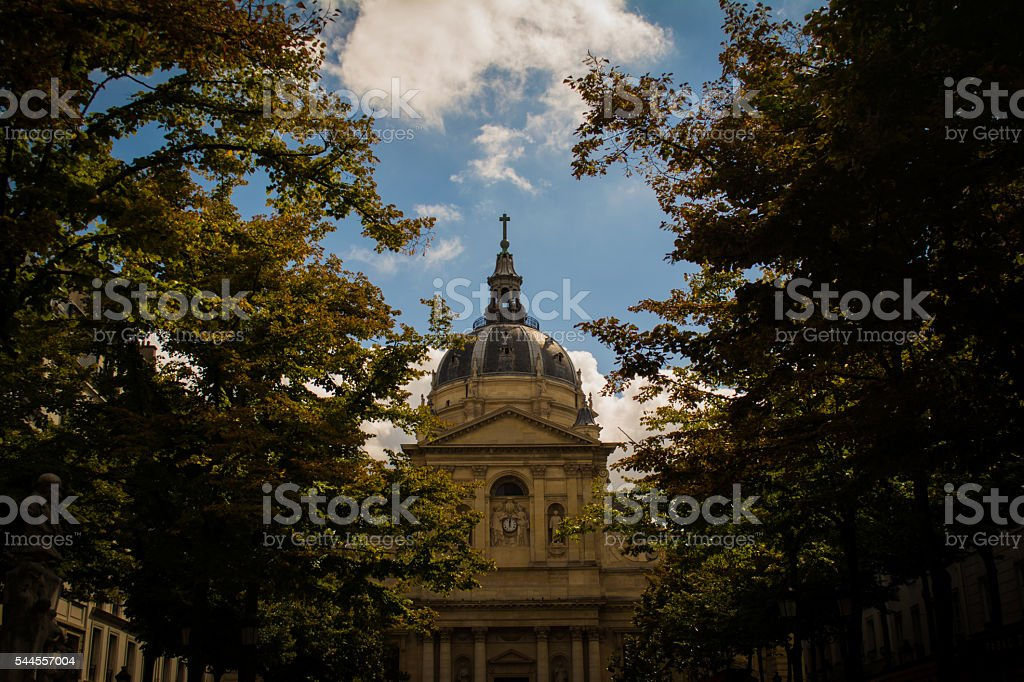 French Cathedral, Church on Plaza Lined with Trees stock photo