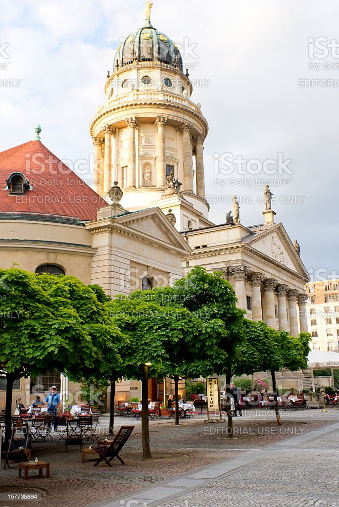 French Cathedral on Gendarmenmarkt in Berlin Germany stock photo
