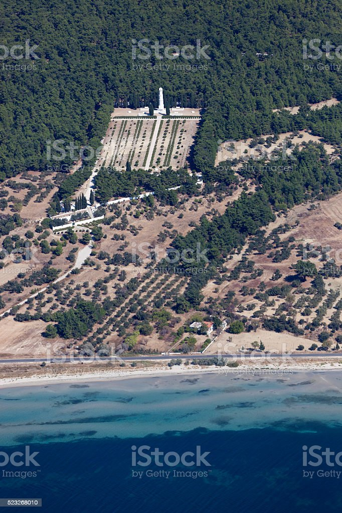 French Cemetery in Gallipoli from above, Çanakkale Turkey stock photo