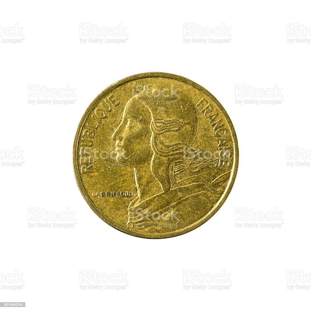 5 french centimes coin (1986) isolated on white background stock photo