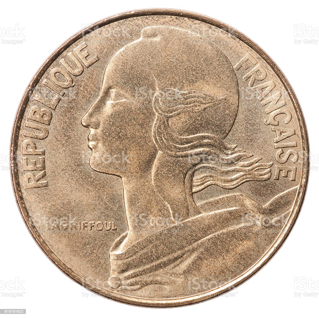 French centimes coin stock photo