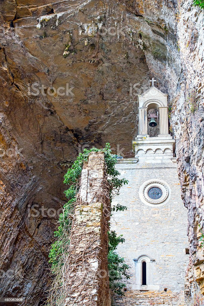 French Chapel carved in stone in caves of la Balme stock photo