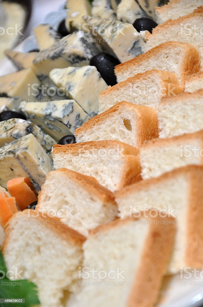 French cheese and bread stock photo