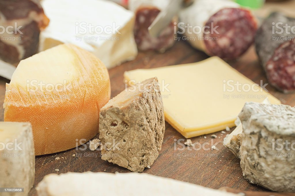 French cheese and sausages stock photo