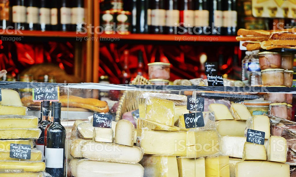 French Cheese and wine on Christmas Market royalty-free stock photo