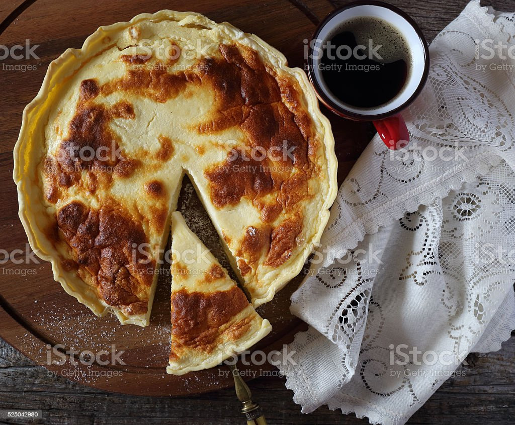 French cheese flan stock photo