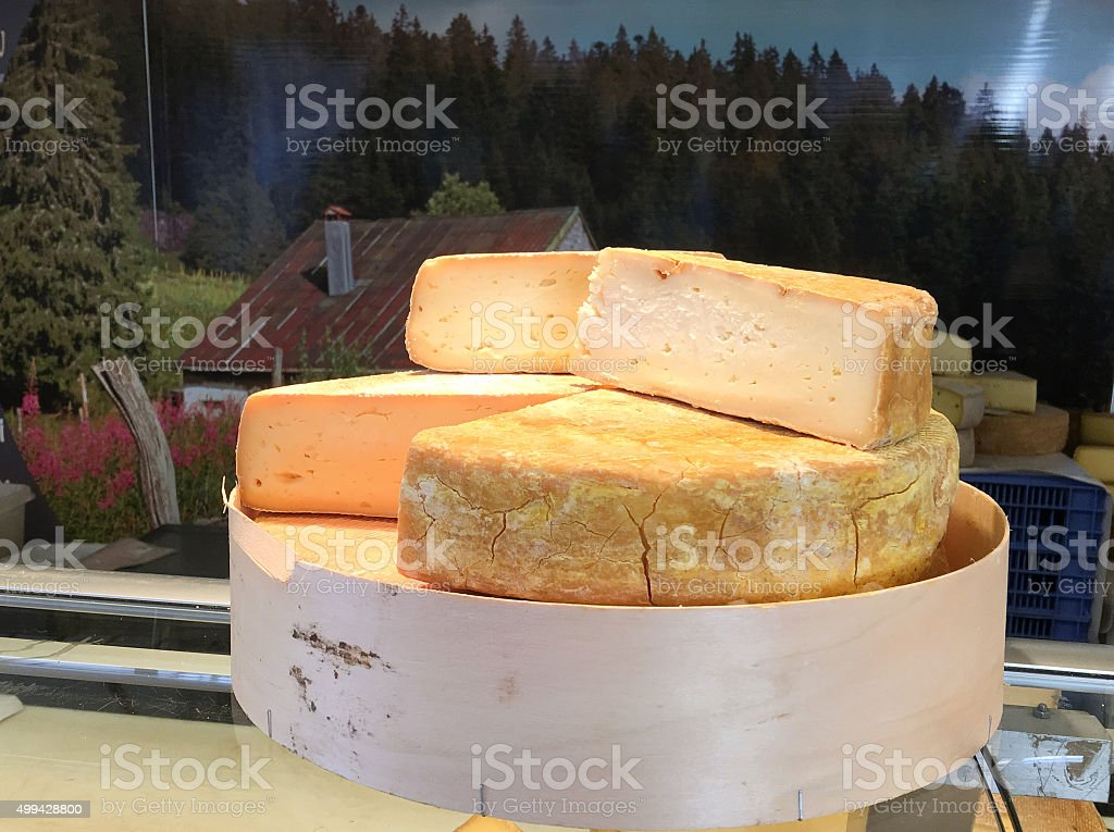 French cheese for sale at a market - France stock photo
