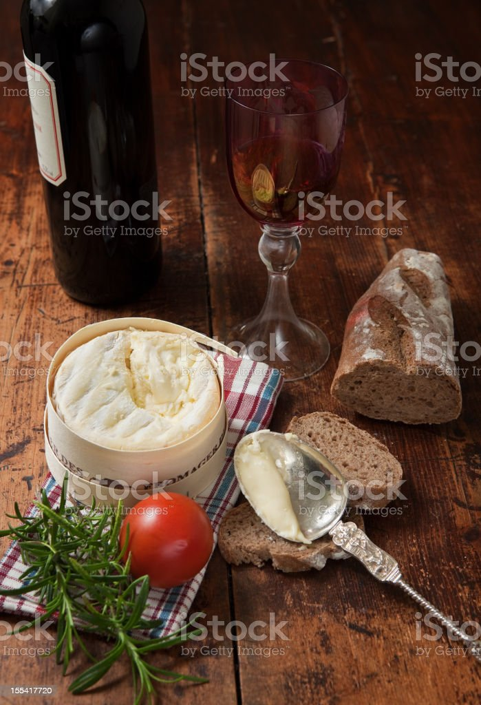 french cheese with bread and red wine royalty-free stock photo
