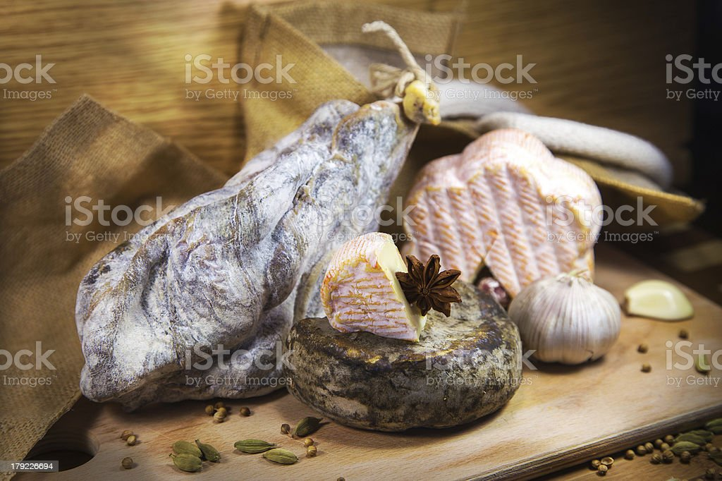 French cheese with meat assorted royalty-free stock photo