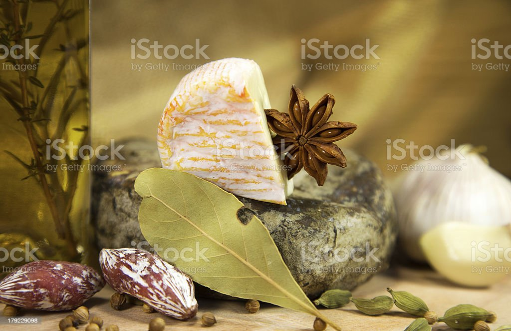 French cheese with olive oil royalty-free stock photo