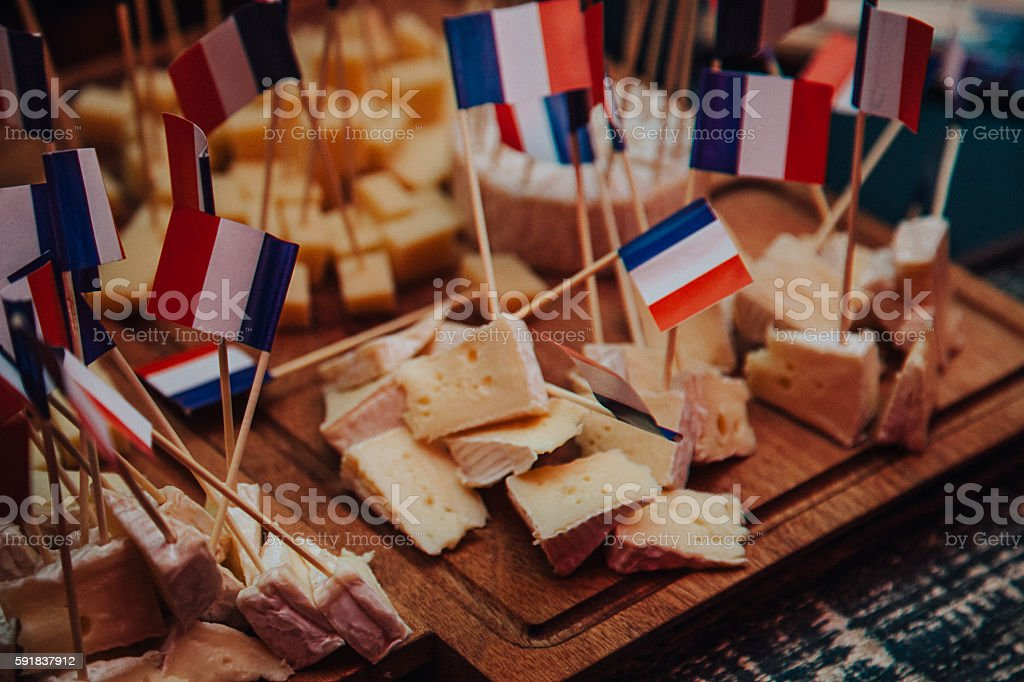 French cheeses with France flag stock photo