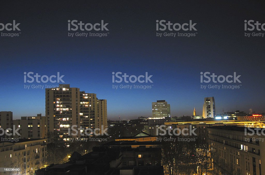 french city in the night royalty-free stock photo