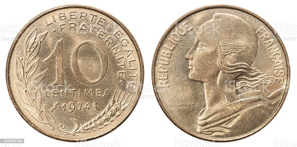 French coin 10 centimes stock photo