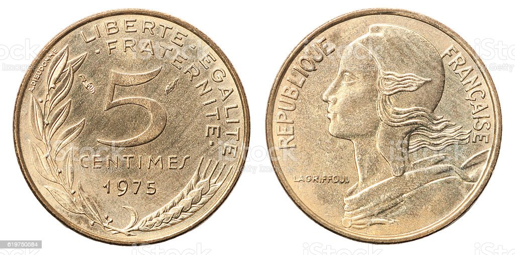 French coin 5 centimes stock photo