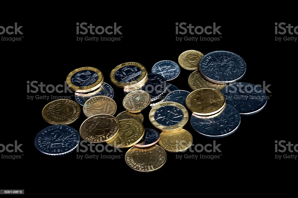 French coins (French Francs)-black royalty-free stock photo