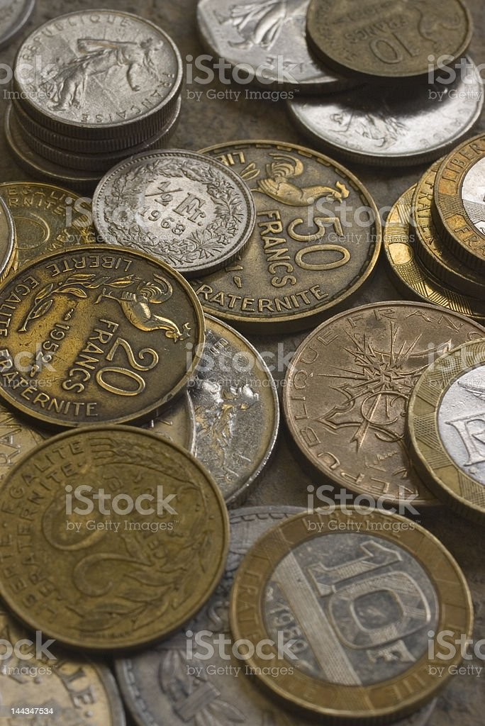 French Coins - Vertical royalty-free stock photo