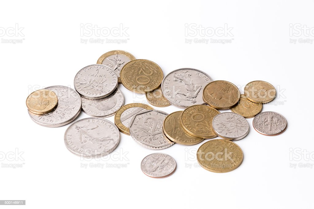 French coins (French Francs)-white royalty-free stock photo