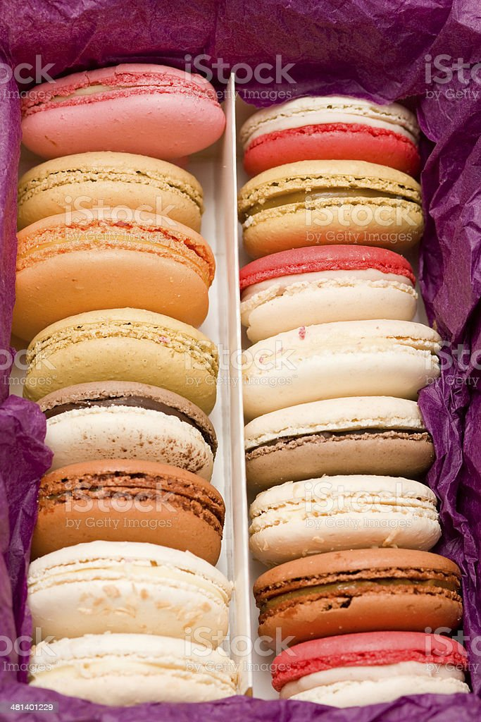 French colorful macarons in box royalty-free stock photo