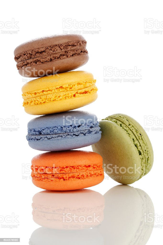 French colorful macarons isolated on white stock photo