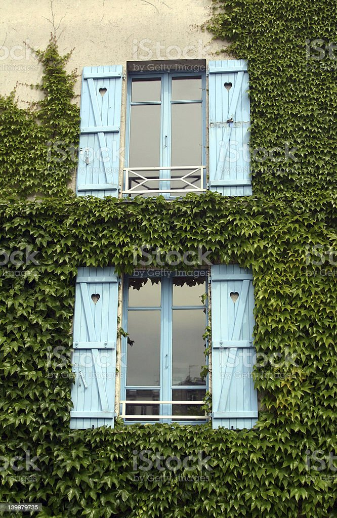 French Country Blue Windows royalty-free stock photo