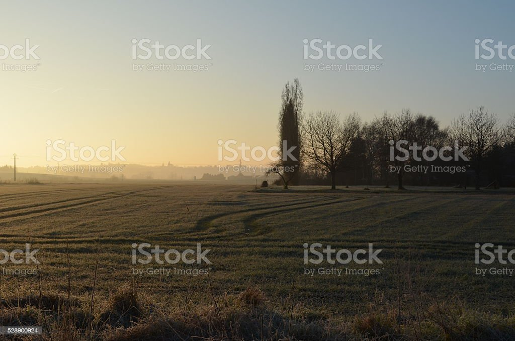 French countryside in the sunrise, in Chatellerault royalty-free stock photo