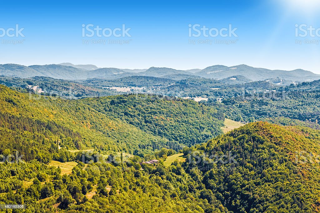 French countryside rolling landscape hill scenic view in summer season stock photo