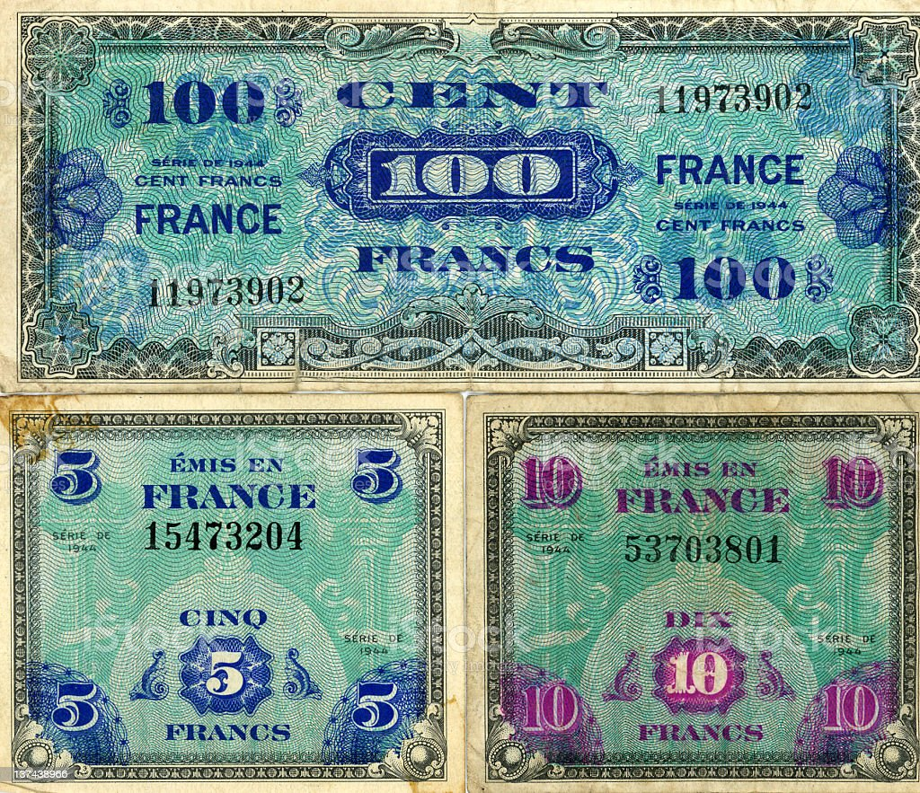 WW II French currency royalty-free stock photo