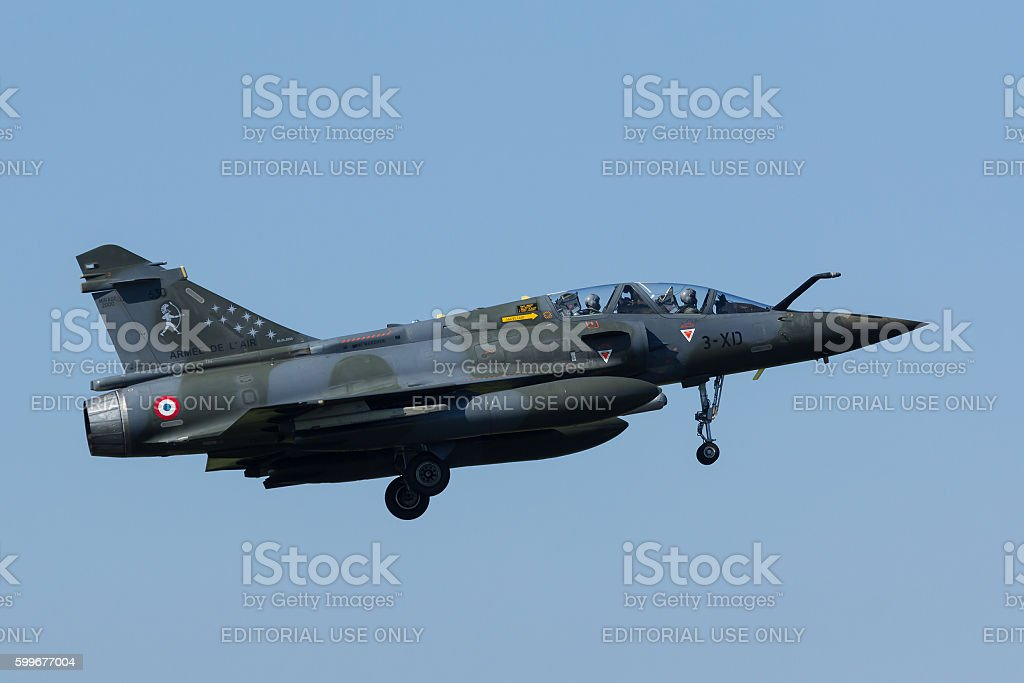 French Dassault Mirage 2000 landing at Frisian Flag Exercise stock photo