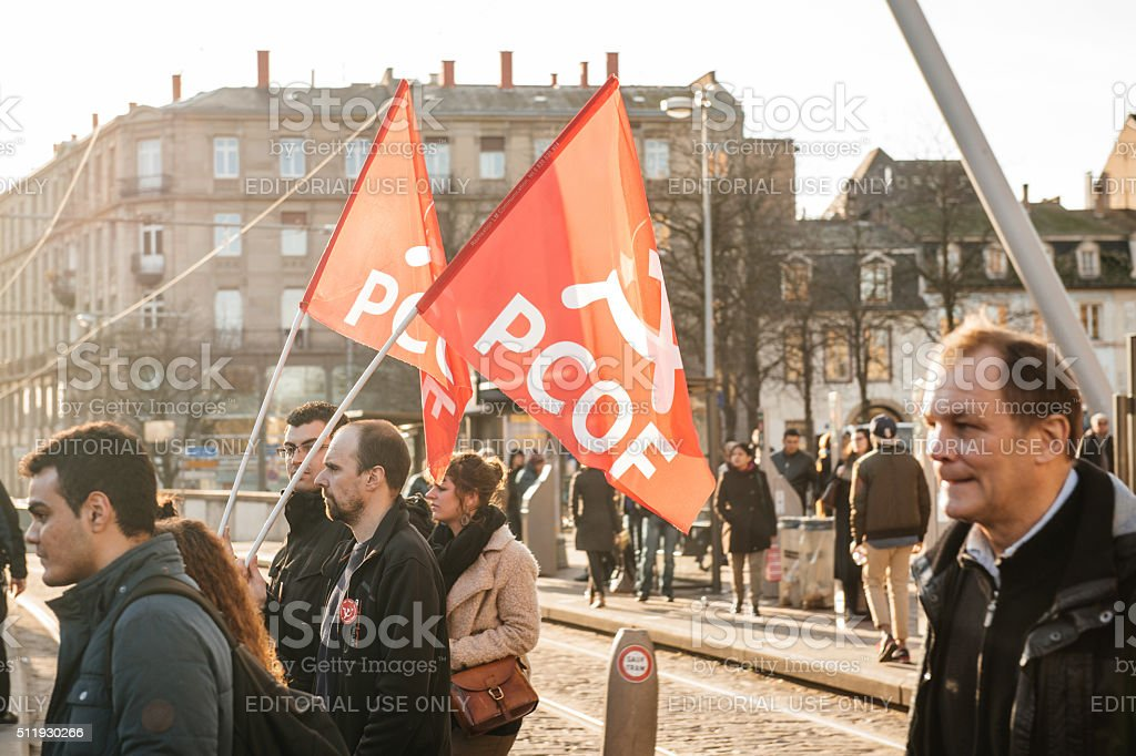 French demonstration against government's State of Emergency stock photo