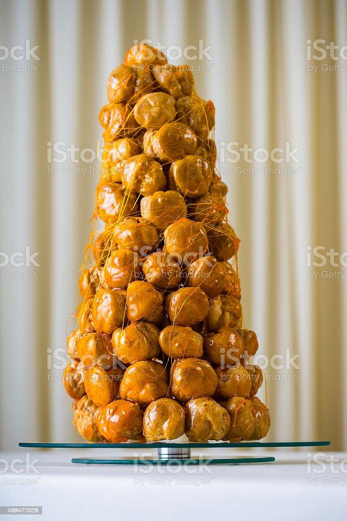 French dessert - croquembouche stock photo