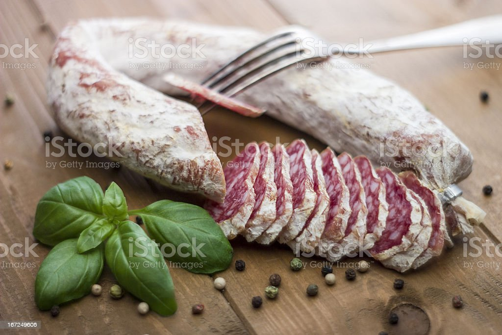 French dried Salami royalty-free stock photo