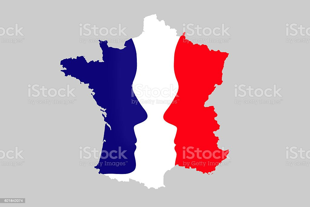 French elections concept, map of France with 2 faces stock photo