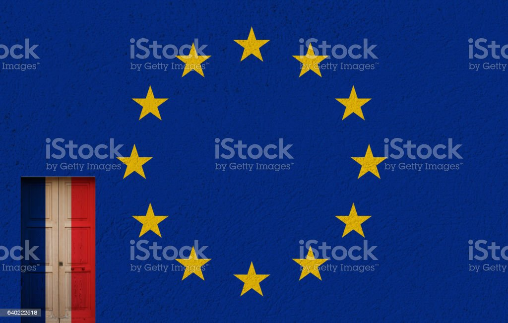 french elections, eu and a door stock photo
