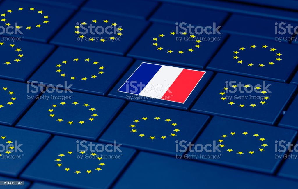 french elections, eu and a pc keyboard stock photo