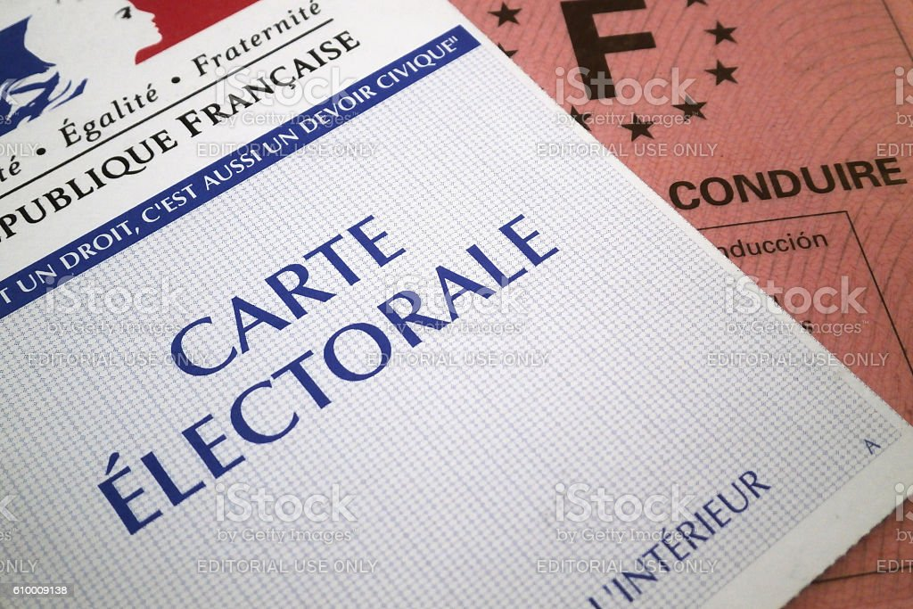 French electoral voting card and driver's license stock photo