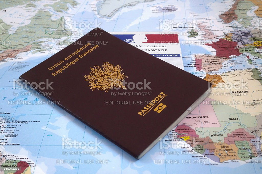 French electoral voting card and passport stock photo