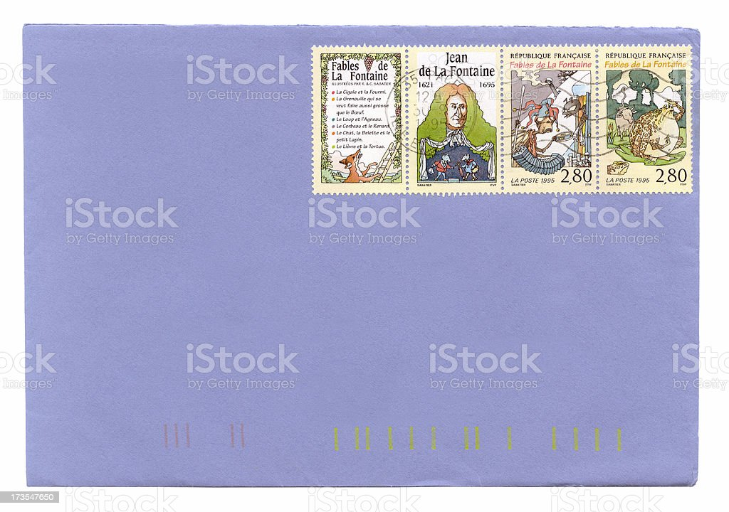 French envelope  (Jean De La Fontaine) stock photo