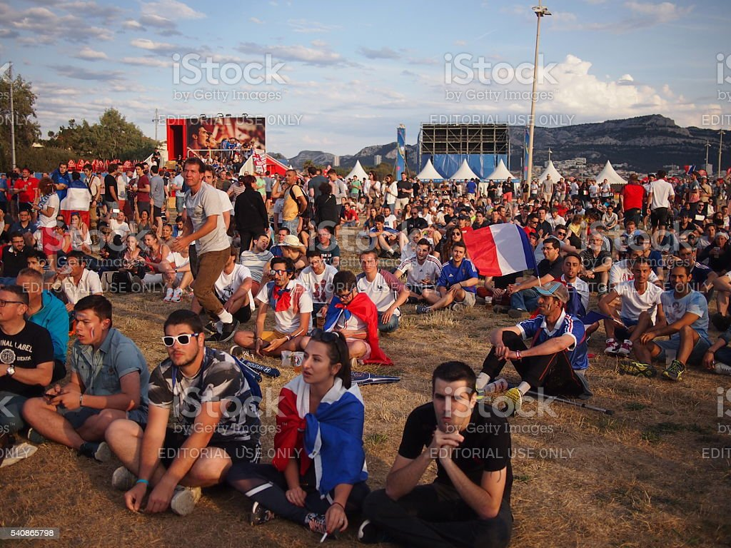 French fans in the fan zone stock photo