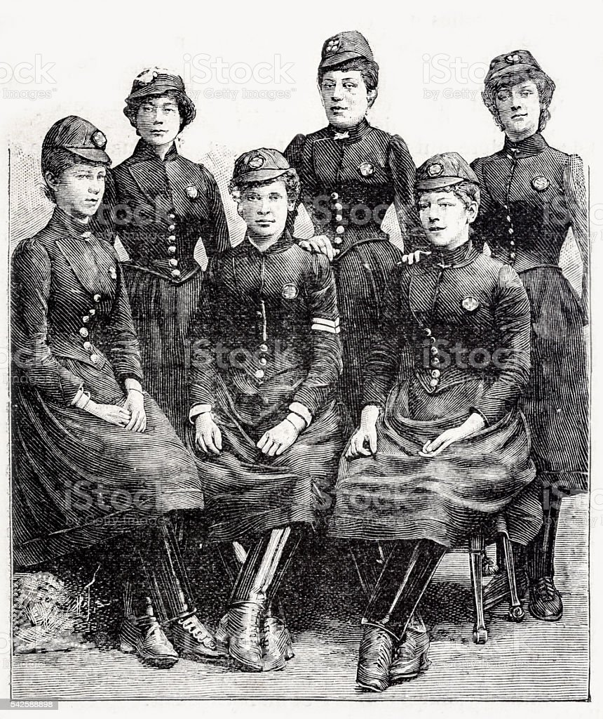 French Female Firefighters stock photo
