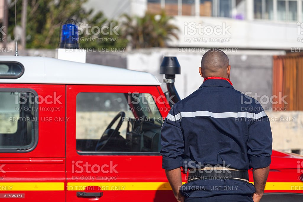 French firefighter stock photo