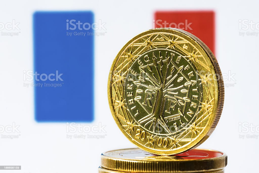 French Flag and Euro royalty-free stock photo