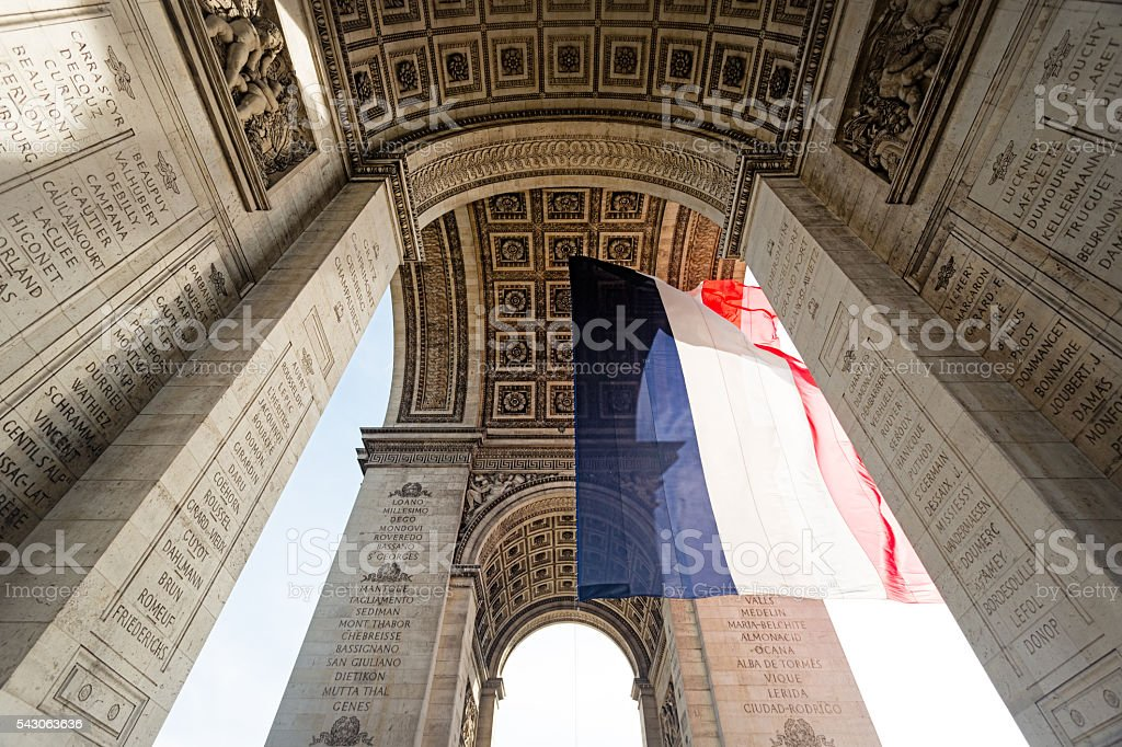 French flag, Arc de Triomphe stock photo