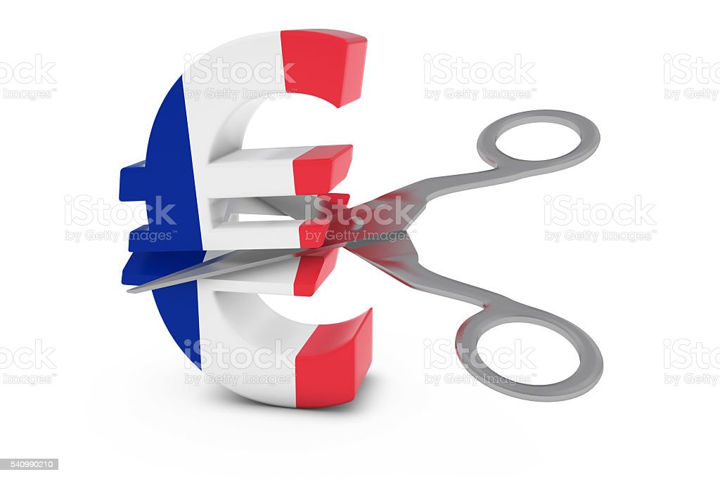 French Flag Euro Symbol Cut in Half with Scissors stock photo