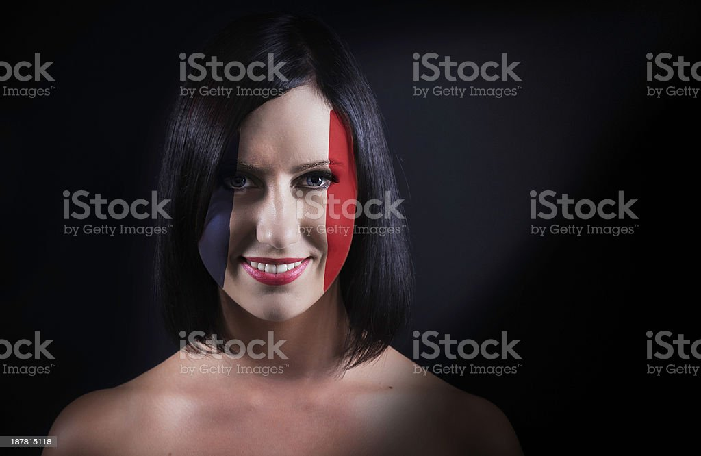 French flag face royalty-free stock photo
