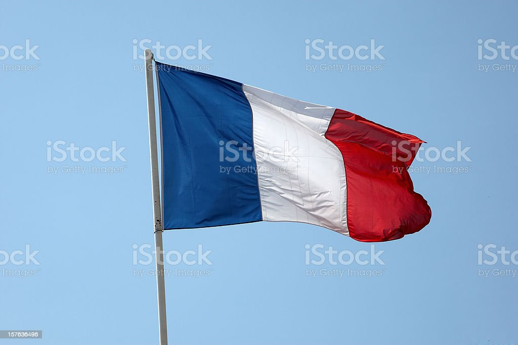 French flag in a blue sky stock photo