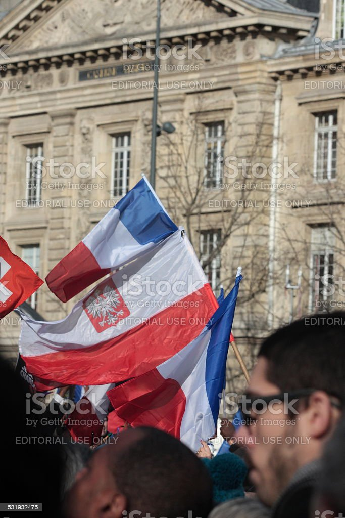 French flag in Paris stock photo