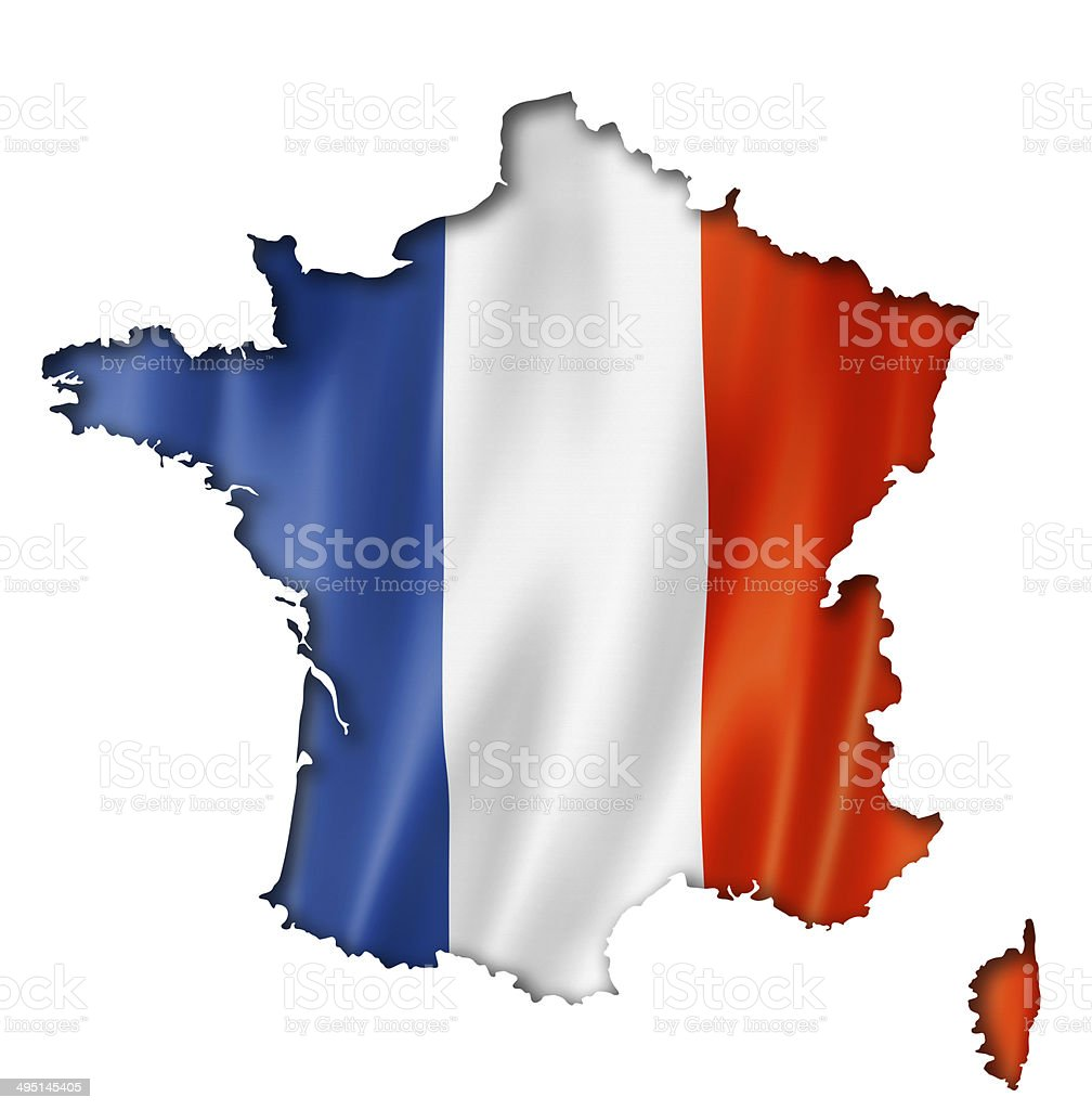 French flag map stock photo